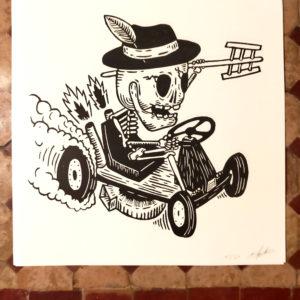 Affiche linogravure Farmhouse Ale – Course de dragster.