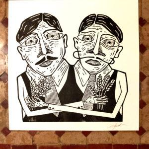 Affiche linogravure Hefeweizen – Deux frères.