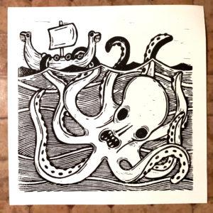 Affiche linogravure Imperial Oatmeal Stout – Le Kraken.