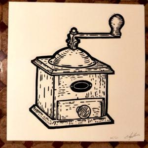 Affiche linogravure saison poivrée – Le moulin