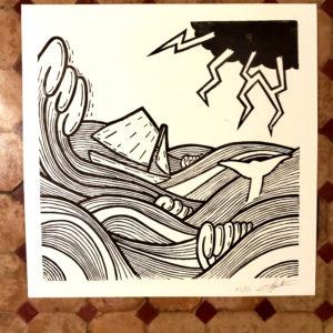 Affiche linogravure bière blonde – Paysage marin.